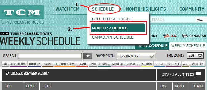 TCM monthly schedule