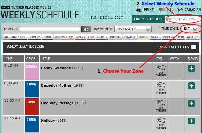 TCM weekly schedule
